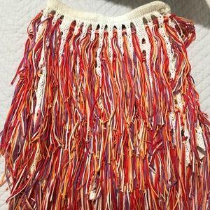 Multicolored fringe crochet skirt